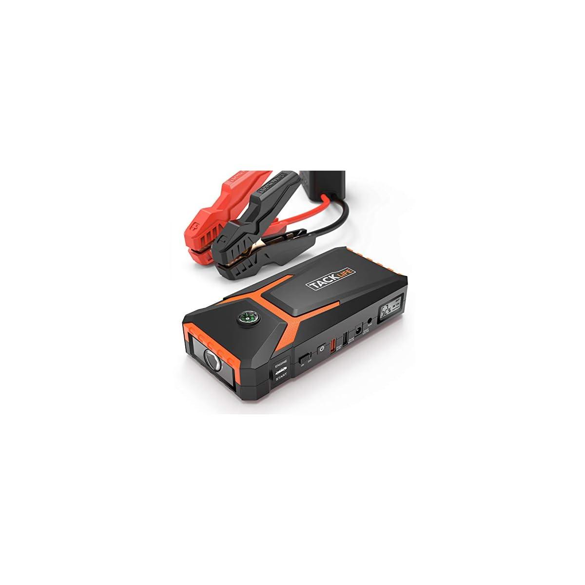 51p2rwLoydL. SS1200  - TACKLIFE T8 Arrancador de Coche - 800A/18000mAh Arrancador Coche, Ultra-Seguro Arrancador de Baterias de Coche (Pinzas Inteligentes, USB de CargaRápida, LEDLuz, PantallaLCD)