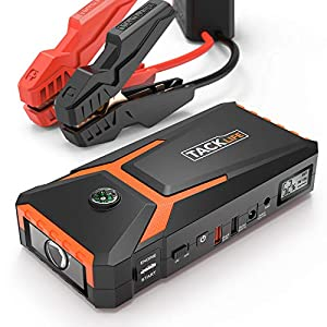 TACKLIFE T8 Arrancador de Coches – 800A/18000mAh Ultra-Seguro Arrancador de Baterias de Coche (para 6.500cc Gas, 5.500cc Diesel) con Pinzas Inteligentes, Pantalla LCD, USB de Carga Rápida, LED Luz