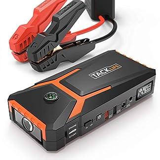 TACKLIFE T8 Arrancador de Coche – 800A/18000mAh Arrancador Coche, Ultra-Seguro Arrancador de Baterias de Coche (Pinzas Inteligentes, USB de CargaRápida, LEDLuz, PantallaLCD)
