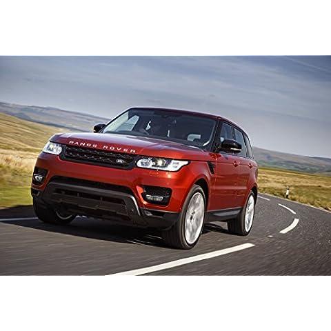 Clásico y músculo anuncios de coche y COCHE arte Land Rover Range Rover Sport V8sobrealimentados (2013) coche Póster en 10mil Archival papel satinado rojo frente movimiento lateral Vista, papel, Red Front Side Motion View, 36