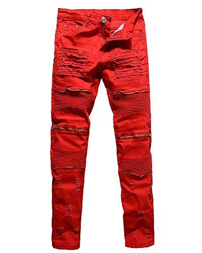 Herren Biker Jeans Stretch Denim Hose Slim Fit Zipper Zerrissen Jeanshosen Rot 34 Biker-denim