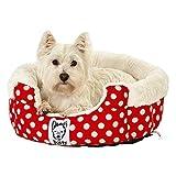 Bunty, cuccia per cani a pois in morbido pile, cuscino lavabile