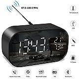 Despertador Digital, SUMGOTT Reloj de Mesa con Radio FM y Altavoz Bluetooth, Alarmas Dual y Temperatura, Pantalla LED de 5.5'' con Atenuador, Manos Libres, Puerto de Carga del USB, Batería de Reserva