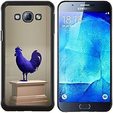 Cubierta protectora del caso de Shell Plástico    Samsung Galaxy A8 ( A8000 )    Gallo Museo de Arte Moderno Estatua Azul @XPTECH