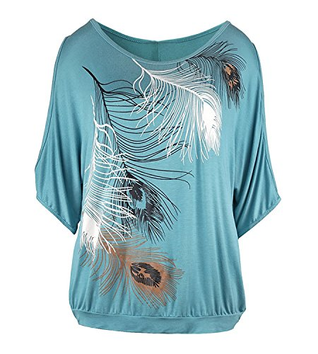 365Shopping Damen T Shirt, Sommer Frauen Bluse weg von der Schulter Short  Sleeve Feder Druck Muster Tops TShirt Gr¨¹N