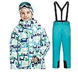 YFCH Mädchen Kinder Skianzug Skijacke Regenlatzhose Verdickung Schneeanzug Wasserdicht Winddicht Winter Skianzüge Jungen Skianzüge