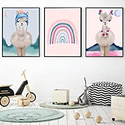 Dibujos animados Llama Rainbow Nursery Art Prints Wall Art Canvas Painting Nordic Posters And Prints Wall Pictures Baby Kids Room Decor