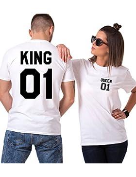 King Camiseta Pareja Shirts Queen 2 Piezas T-Shirt 100% Algodón Impresión 01 Blusa Casual con Manga Corta Regalo...