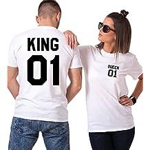 King Camiseta Pareja Shirts Queen 2 Piezas T-Shirt 100% Algodón Impresión 01 Blusa
