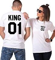 ❤King Shirt Queen 100% cotone per Couple, morbido e traspirante  ❤Questa T-shirt manica corta è un regalo eccellente per San Valentino e anniversario ❤Informazioni sul Couple negozio:   È una boutique tematica, forniamo idee eccellenti e abb...