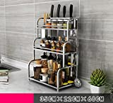 Küche Lagerung und Organisation Küche Regal Edelstahl Lagerung Zubehör Utensilien 3 - Layer Küchenutensilien Wandhalter Gewürze Regale Unter Regallagerung ( Farbe : A , größe : 35cm )