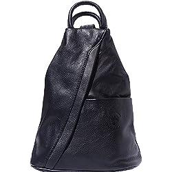 Florence Leather Market Bolso mochila y bolsa de hombro 2061 (Negro)