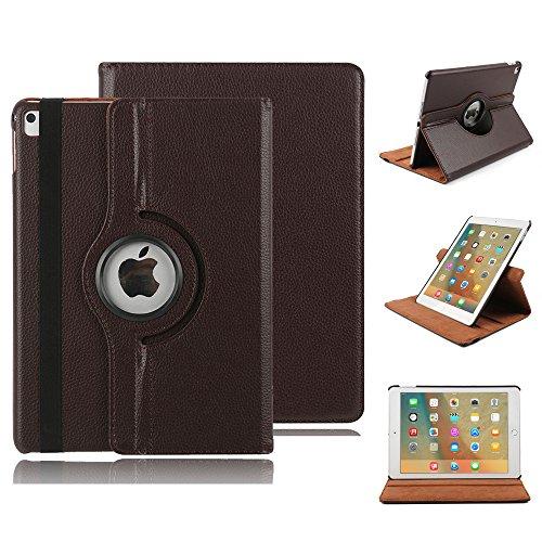 Smart Case für iPad 4 Hülle Case, elecfan® 360 Grad rotierend Kunstleder Schutzhülle Tasche Etui Smart Cover mit Auto Schlaf / Wach, Standfunktion, für iPad 2/3/4 (iPad 2/3/4, Braun)