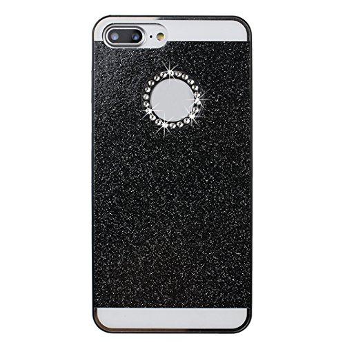 2 x iPhone 8 Plus Coque Paillettes à l'arrière, iPhone 7 Plus Etui Glitter Bling, Moon mood® Plastic Dur Rigide Coque de Protection etui en Plastique PC Back Bumper Slim Case Cover Ultra Mince Solide  Noir