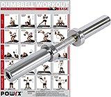 POWRX Kurzhantelstange inkl. Workout I Olympia Hantelstange verchromt & gerändelt I Hantel 50 cm x 50 mm