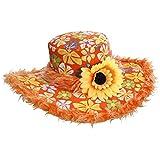 WIDMANN 2596A–Chapeau Ibiza avec bord en peluche et fleurs de soleil pour adulte taille unique