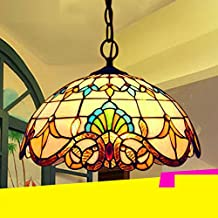 Tiffany Colgante de Luz Vendimia Diseño Sala Comedor Veranda Mediterráneo Corredor Balcón Archivos Adjuntos Lámpara Colgante Redondo Pastoral Rústico Vitral Decoración Iluminación de Techo E27 Max.60W , Ø20cm