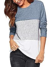adc4d5e47f74f AMORETU Camisas Mujer Manga Larga Bloque de Color Casual Blusas Tops del  Camisetas