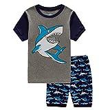Tarkis 1-7 Years Boys Pyjamas Cartoon Shark Short Sleeve Cotton T-Shirt Top and Shorts Summer Outfits Set