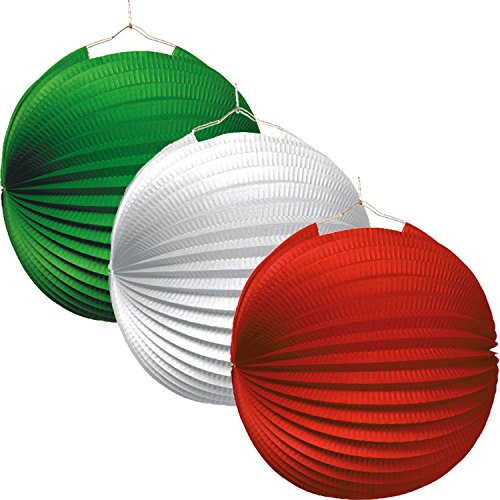 Italien * als Deko für Mottoparty oder Länder-Party // Laternen grün Weiss rot Italy Dekoration ()