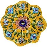 Aditya Blue Art Pottery Ceramic Decorative Wall Hanging Handmade Plate (13 Cm X 13 Cm X 3 Cm)
