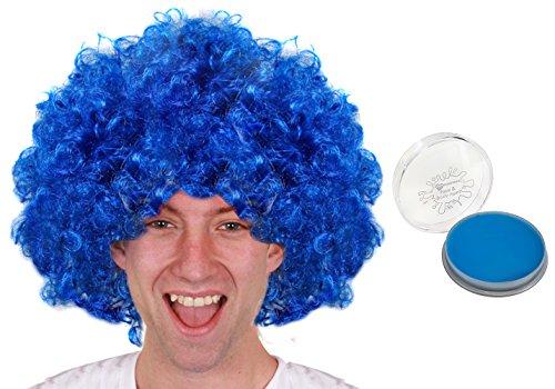 ILOVEFANCYDRESS Blaue PERÜCKE + Blaues Make up Set Perfekte Zubehör Um Ihre Verkleidung ZU VERVOLLSTÄNDIGEN = Super als Sport und Fan Artikel FÜR Fussball und Tennis