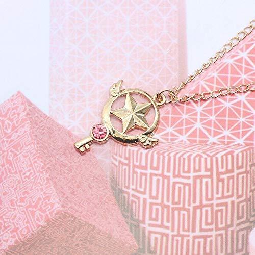 CJMDEH Halskette,Stern Rot,Sailor Moon Sakura Halskette Gold Silber Metall Hohlen Kat Herz Stern Mond Anhänger Mit Halskette Anime Cosplay Schmuck