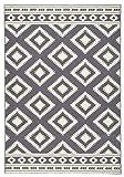 HANSE Home Design Velours Teppich Kurzflor Ethno, Polypropylen, Grau/Creme, 120 x 170 x 0.9 cm