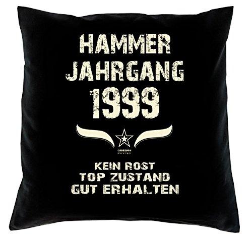 Soreso Design Geschenk 20 Geburtstag Geschenkidee Deko Kissen und Urkunde Jahrgang 1999 Farbe: schwarz