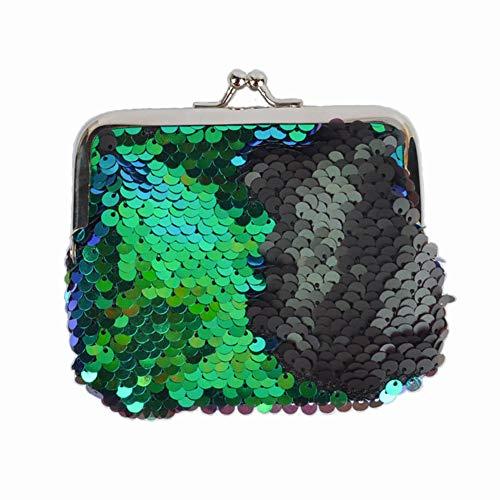 Frauen Pailletten reversible Mermaid Pailletten Kosmetiktaschen, zweifarbige Federbeutel DIY glänzende Abendtasche (grün und schwarz)