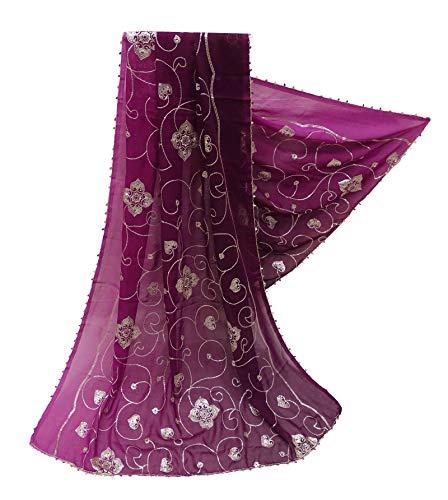 PEEGLI Frauen Indische Dupatta Pailletten Vintage Schal Georgette Mischung DIY Verwendet Stoff Floral Neck Wrap Bollywood Mode Schal Pflaume Ethnische Hochzeit Designer Stahl -