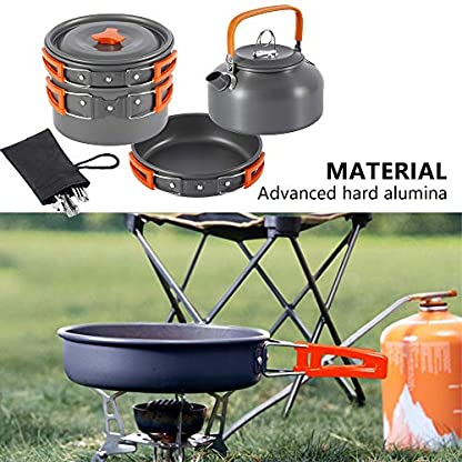Jetcloud Camping Cookware Kit Outdoor Aluminum Cooking Set for 2 to 3 People Non Stick Folding Camping Pans and Pots Travelling Camping Hiking Picnic BBQ Orange 7