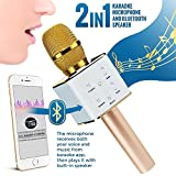 Upgraded Wireless Karaoke Microphone Bluetooth Speaker, TechStone Portable 3-in-1 Handled Multi-function Bluetooth Microphone and Built-in Speaker for Mobile Phone, PC and Smart Devices (Gold)