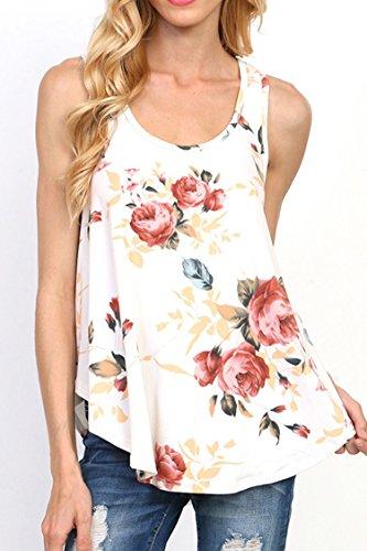 Minetom Damen Sommer O-Ausschnitt Ärmellos Retro Blumen Rückenfrei Kurz Hemd Tops Oberteil Bluse Unregelmäßig T Shirt mit Schnürung Weiß