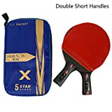5 Sterne Carbon Tischtennisschläger Leichte leistungsstarke Ping Pong Paddle Bat -2Pcs Tischtennisschläger