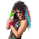 80er Jahre Kostümzubehör - mit Haarsträhnen, Brille, Ohrringen u. Handschuhen - schrilles Kostümset Punk Girl 90er Party Mode Rocker Style Outfit Mottoparty Achtziger Kostüm-Accessoires neon
