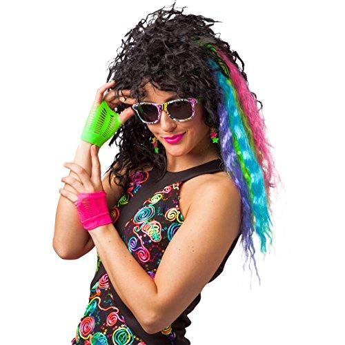 NET TOYS Kostüm-Accessoires neon 80er Jahre Kostümzubehör mit Haarsträhnen, Brille, Ohrringen u. Handschuhen schrilles Kostümset Punk Girl Rocker Style Outfit
