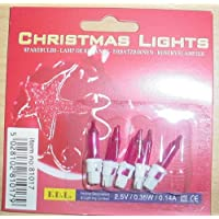 S62 Pack of 5 Push In Spare Fairy Bulbs In Red with Red Base 2.5v 0.48w 0.19a
