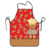 Personalized Kitchen Aprons Gingerbread Christmas Overhand Dacron Unisex Adult Teen Kids Durable Cooking Baking Kitchen Restaurant Chef Apron with Neck Strap One Size