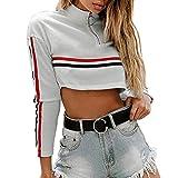 FRAUIT Pullover Damen Stehkragen O-Neck Streifen Langarm Zipper Sweatshirt Crop Top Chic Kleidung Sport Freizeit Atmungsaktiv Weich Bequem Mode Elegant Straßenaktivitäten Mantel