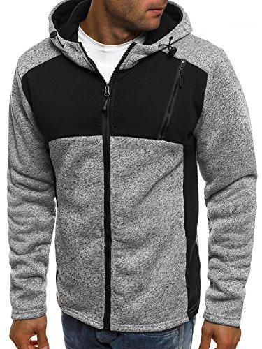 ozonee uomo maglia pullover felpa con cappuccio sportivi J. STYLE AK41 Grigio