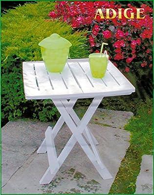 Praktischer Beistelltisch Camp Butler / Farbe Weiß / Tischplatte 44 x 44 cm / Belastbar bis 12 Kg / Universell einsetzbar / Campingtisch Klapptisch Wohnmobiltisch Tisch Angeltisch Gartentisch Reisetisch Küchentisch