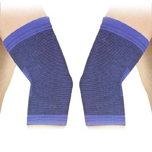 SODIAL (R) 2 Stueck Blau Schwarz Sportbekleidung Ellenbogenschutz