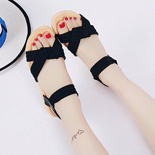 Transer ® Femmes rayé Bohème plat sandales Peep-Toe doux tongs Noir