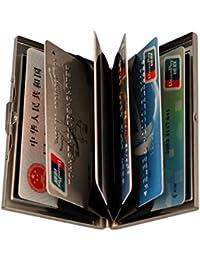 URAQT Ultra Delgada Carteras de Aluminio Cartera de Acero Inoxidable, Tarjetero de Crédito Durable con 6 Ranuras de PVC para Hombre y Mujer
