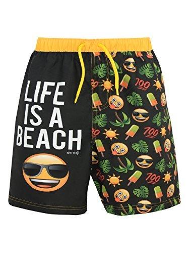 Emoji Jungen Sonne und Palmen Badeshorts Schwarz 140