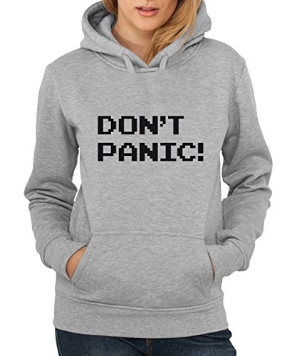 ::: DON'T PANIC! ::: Girls Kapuzenpullover Sports Grey mit schwarzem Aufdruck
