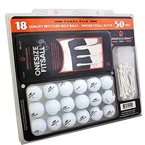 Reload Recycled Golf Balls (18-Pack) Top Flite Golf Balls with Gloves and Tees by Top Flite