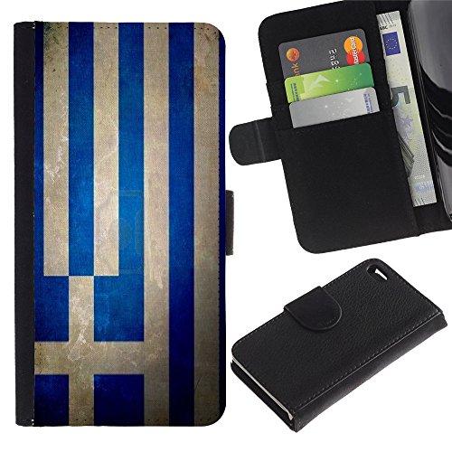 Graphic4You Vintage Uralt Flagge Von Italien Design Brieftasche Leder Hülle Case Schutzhülle für Apple iPhone 4 und 4S Griechenland Griechisch
