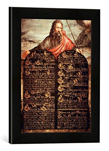 Gerahmtes Bild von AKG Anonymous Zehn-Gebote-Tafel, Kunstdruck im hochwertigen handgefertigten Bilder-Rahmen, 30x40 cm, Schwarz matt